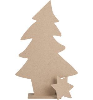 Kerstboom mdf met ster op voet 38 x 59 x 10cm for Houten tuinkast intratuin